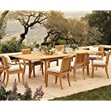"New 9 Pc Luxurious Grade-A Teak Dining Set - 117"" Double Extension Rectangle Table & 8 Giva Chairs (6 Armless & 2 Arm / Captain) #WHDSGVh"