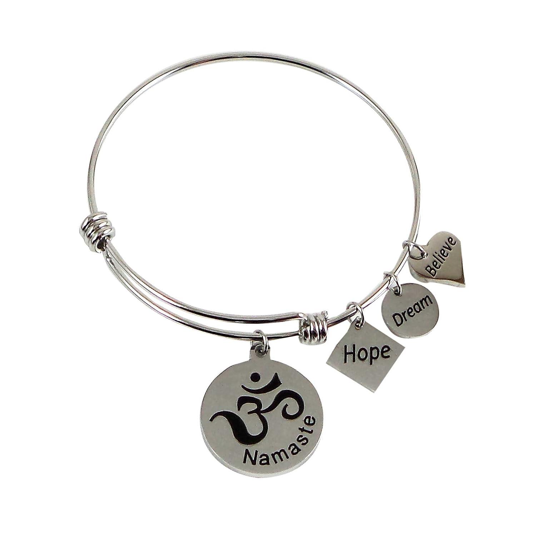 Dragonfly Spirit Designs Expandable Charm Bangle Namaste Om Hope Dream Believe