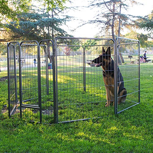 "Wire Pen Dog Fence Playpen - Pet Dogs & Cats Outdoor Exercise Pens - Tube Gate w/Door - (8 Panel / 30 Square Feet Play Yard) Heavy Duty Portable Folding Metal Animal Cage Corral - 40"" Height Fences"