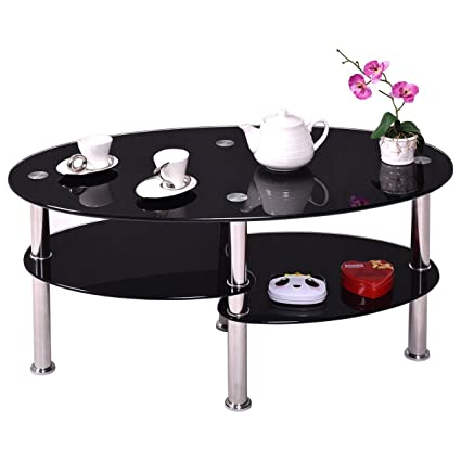 Birtech Black Glass Coffee Tables Modern Tempered Glass Coffee Table Oval Glass Side End Table With Stainless Steel Legs And 3 Tier Storage For Living