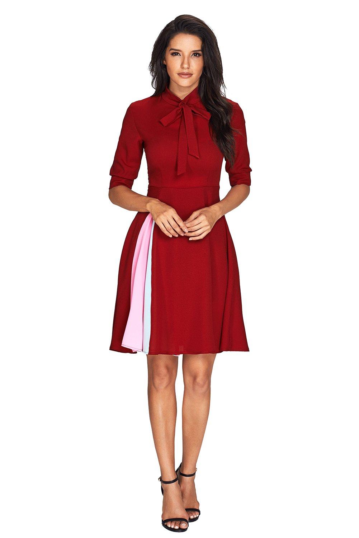 Syusuke 1950s Vintage False Slit Splice Bow Tie Cocktail Party Dress for Women Burgundy L