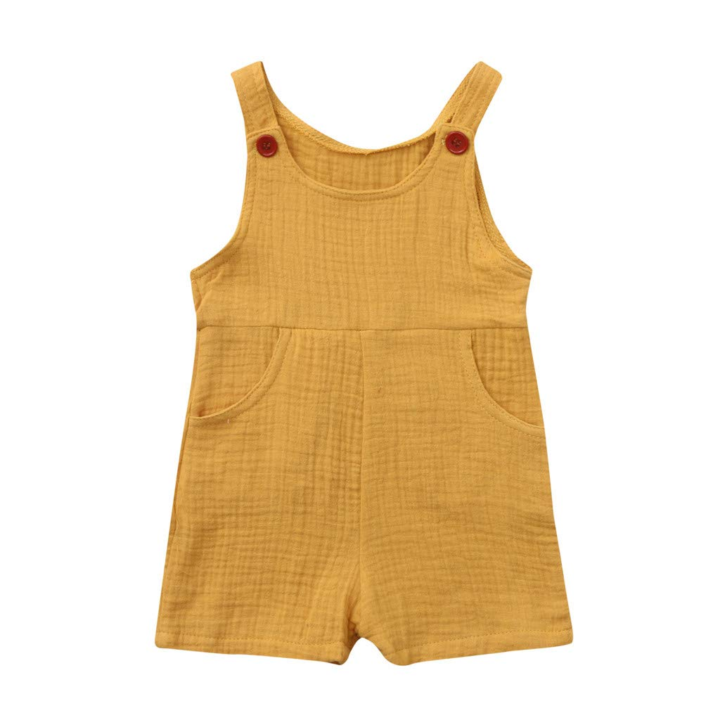 Toddler Baby Boys Girls Sleeveless Strap Romper Jumpsuits Plain Color Soft Breathable Pocket Bodysuits (Yellow, 6-12M)