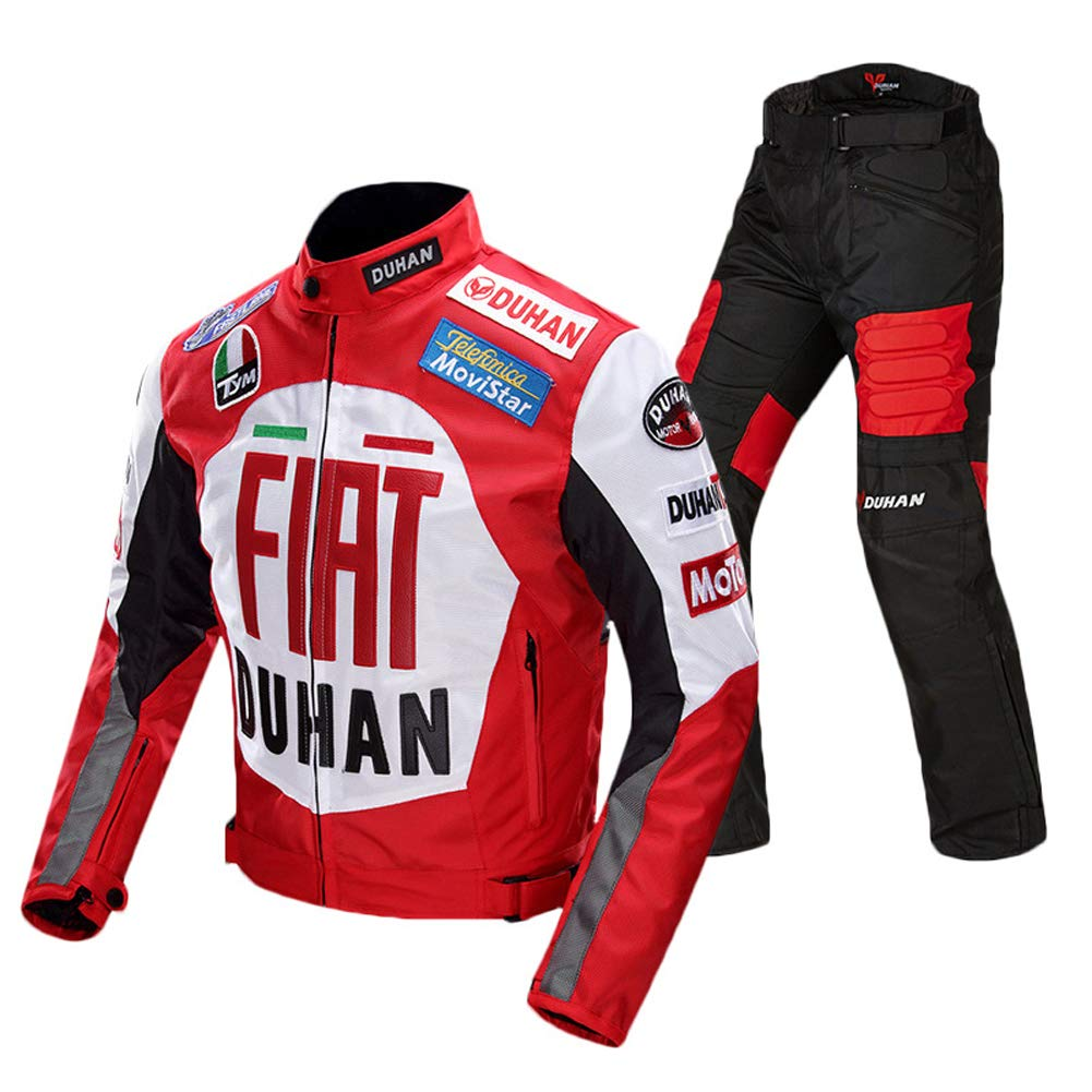 ANTLEP Motorcycle Jacket Suit 2 Pieces CE Approved Protection Detachable Warm Layer 600D Oxford Fabric Breathable Wear-Resistant for Man, Woman, Riding Motorcycles, Cross Country, Racing,Red,XL