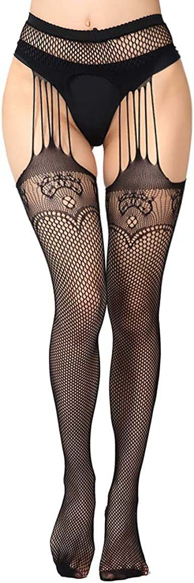 Lace Patterned One Size NYKKOLA Womens High Waist Fishnet Tights Suspender Pantyhose Thigh High Stockings