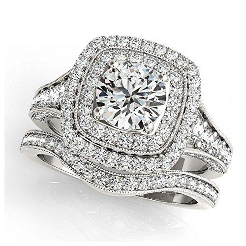 14K White Gold Unique Wedding Diamond Bridal Set Style MT50871