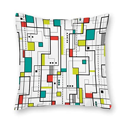 Amazon.com: DKISEE Abstract Bauhaus Square Throw Pillow ...