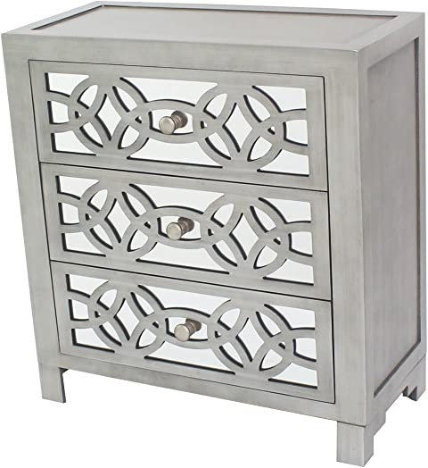 River of Goods Drawer Chest Glam Slam 3-Drawer Mirrored Wood Cabinet Furniture – Pewter