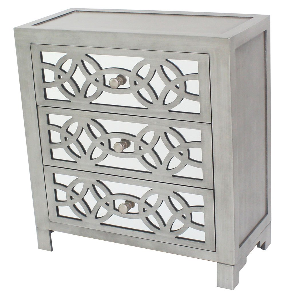 River of Goods  Drawer Chest: Glam Slam 3-Drawer Mirrored Wood Cabinet Furniture - Pewter by River of Goods