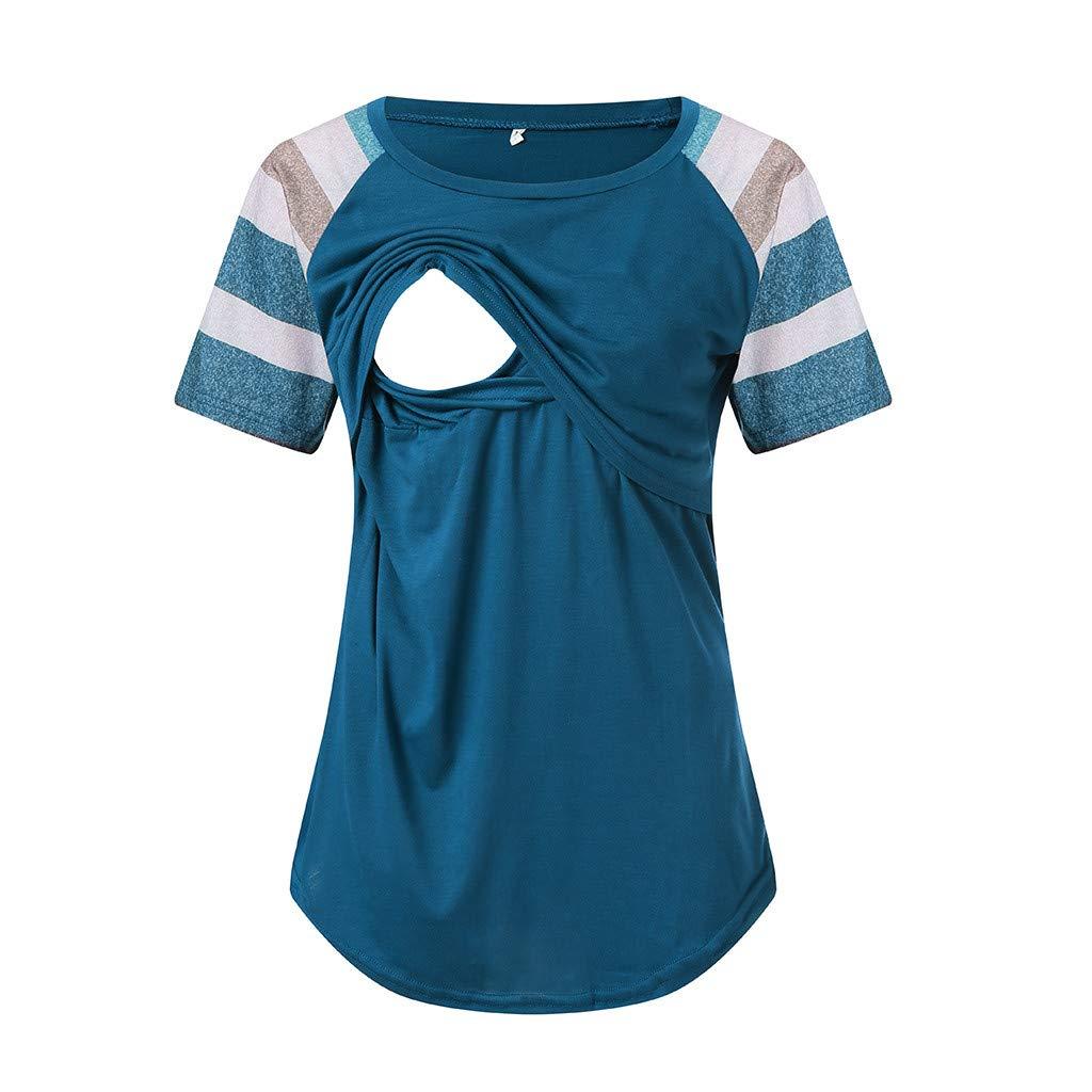 Dsood Pregnant Blouse Maternity,Maternity Womens Nursing Stripe Short Sleeve Round Neck Breastfeeding Blouse,Women's Clothing,Hot Pink,S