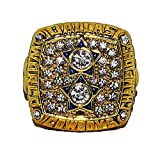 DALLAS COWBOYS (Roger Staubach) 1977 SUPER BOWL XII WORLD CHAMPIONS Vintage Rare & Collectible High-Quality Replica NFL Football Gold Championship Ring with Cherrywood Display Box