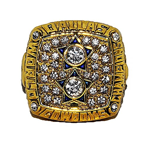 DALLAS COWBOYS (Roger Staubach) 1977 SUPER BOWL XII WORLD CHAMPIONS Vintage Rare & Collectible High Quality Replica NFL Football Gold Championship Ring with Cherrywood Display Box