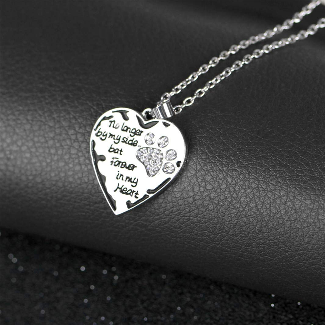 YouCY Love Necklace Dog Claw Necklace No Longer By My Side,but Forever In My Heart Carved Locket Cremation Urn Necklace For Pet Dog Cats,Black