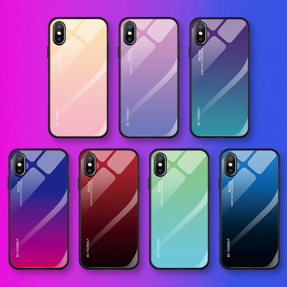 Caler H/ülle Kompatibel mit Huawei Honor 10 Lite//P Smart 2019 H/ülle 9H Geh/ärtetem Marmor Glas R/ückseite mit TPU Rahmen Schutzh/ülle Ultra D/ünn Handyh/ülle Rahmen H/üllen Slim Shell Case Sto/ßfest