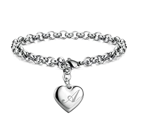 66991a26060b7 Monily Initial Charm Bracelets Stainless Steel Heart 26 Letters Alphabet  Bracelet for Women