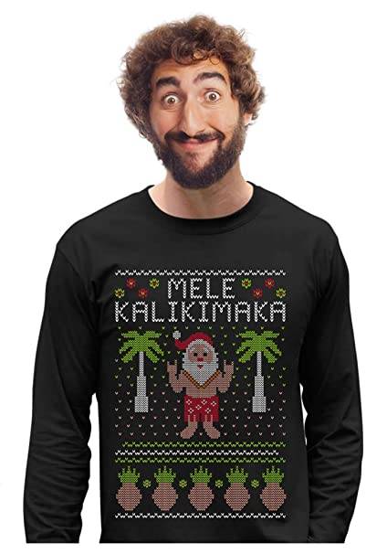 Mele Kalikimaka Hawaiian Santa Themed Ugly Christmas Sweater Long Sleeve  T-Shirt Small Black b83767ce2