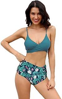e65f07cf05 SHEKINI Women's Push-up Halter Bandage Ruched High Waisted Bottoms Bikini  Swimsuits