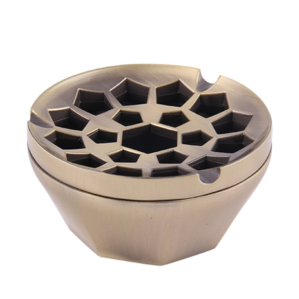 Honoro Unique Windproof Ashtray with Lid,Metal Honeycomb Cigarettes Ashtray for Indoor Outdoor Use,Ash Holder,Nice Gift,Bronze