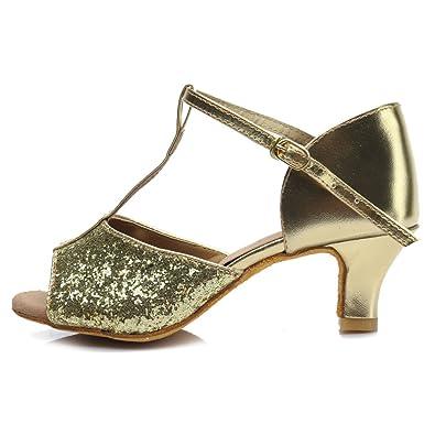 APTRO Damen Schuhe Tanzschuhe Ballsaal Latin Tanzen Silber Sandalen  Golden