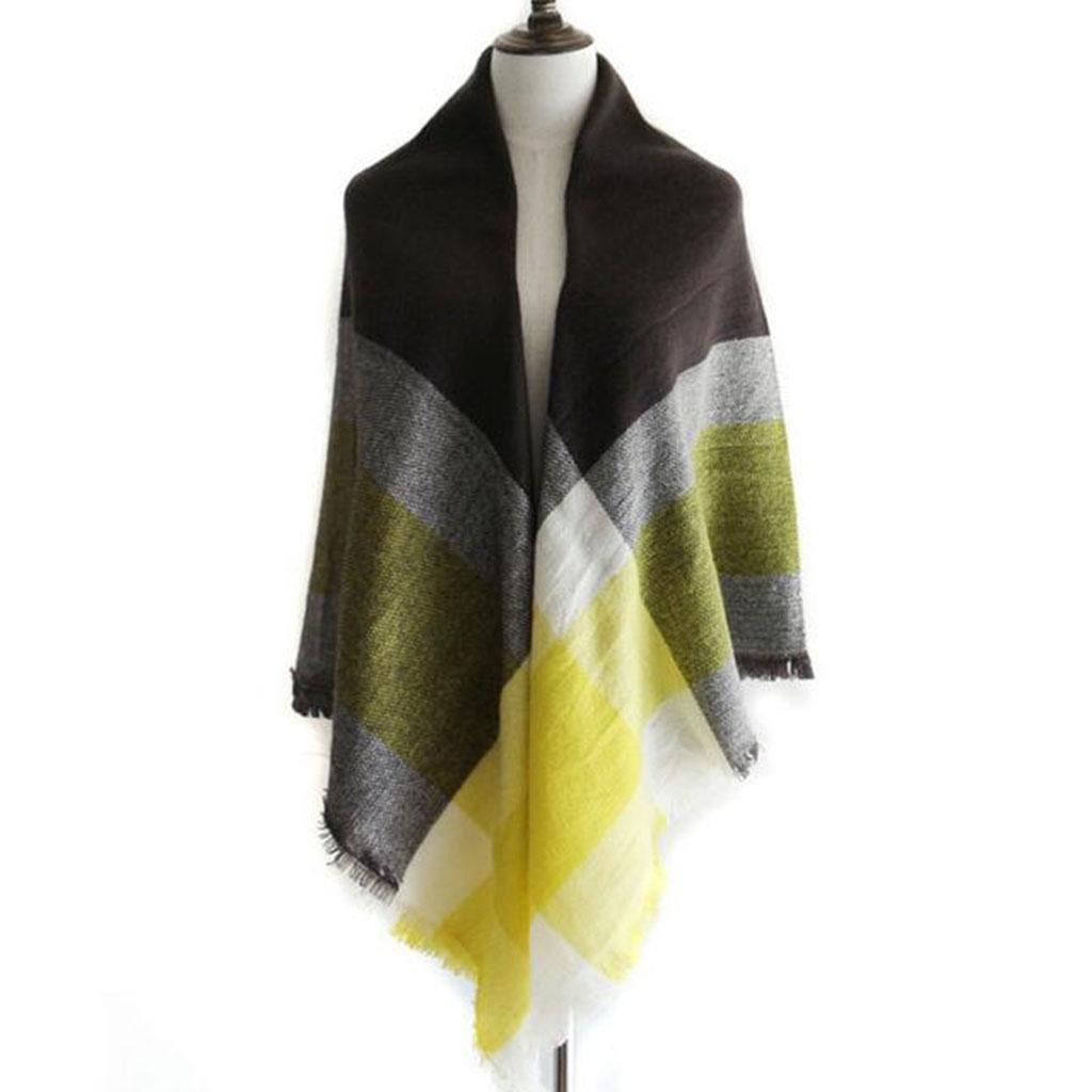 Donne Tenere caldo Freddo sciarpa giallo reticolo moda Piazza