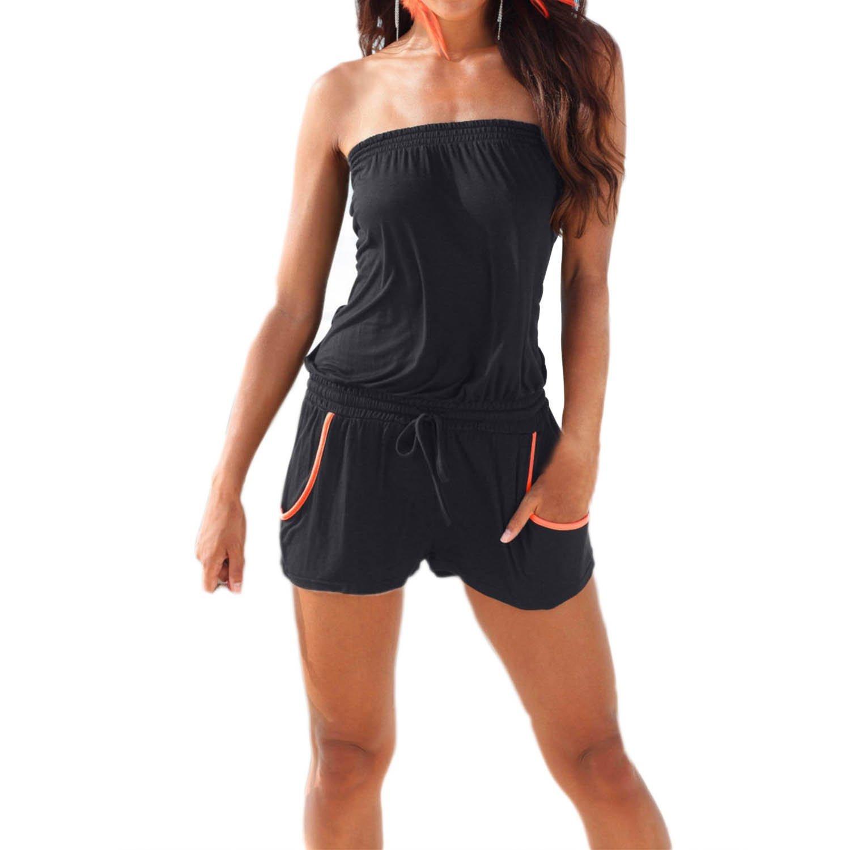 SUNNOW® Elegant Damen Jumpsuit Einteilig Playsuit trägerlos elastischer Bund Hohe Taille Bandeau Ärmellos Casual Overall Strand Hose Sommer