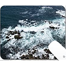 Luxlady Gaming Mousepad 9.25in X 7.25in IMAGE: 34355569 Waves rocks stones on the Ocean from above View from lighthouse Matara Ceylon Sri Lanka