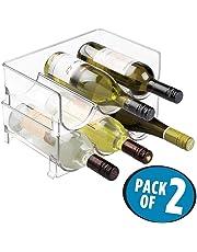 mDesign rangement bouteille (lot de 2) – porte bouteille empilable – idéal comme casier à bouteille avec de la place pour ranger 3 bouteilles de vin ou d'eau – transparent