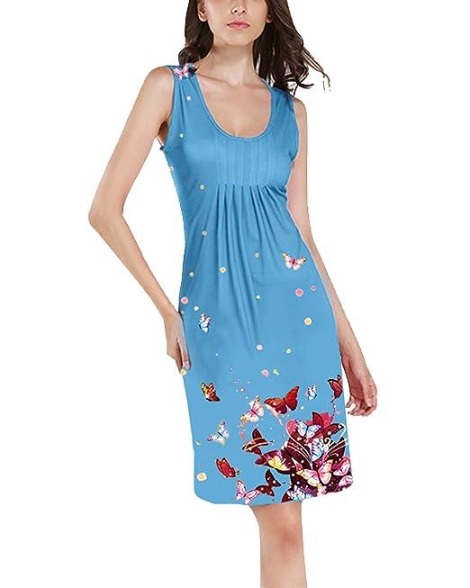ORANDESIGNE Vestido Mujer Verano Chaleco Vestido Sin Mangas de Playa de Impresión Retro Vestido de Playa