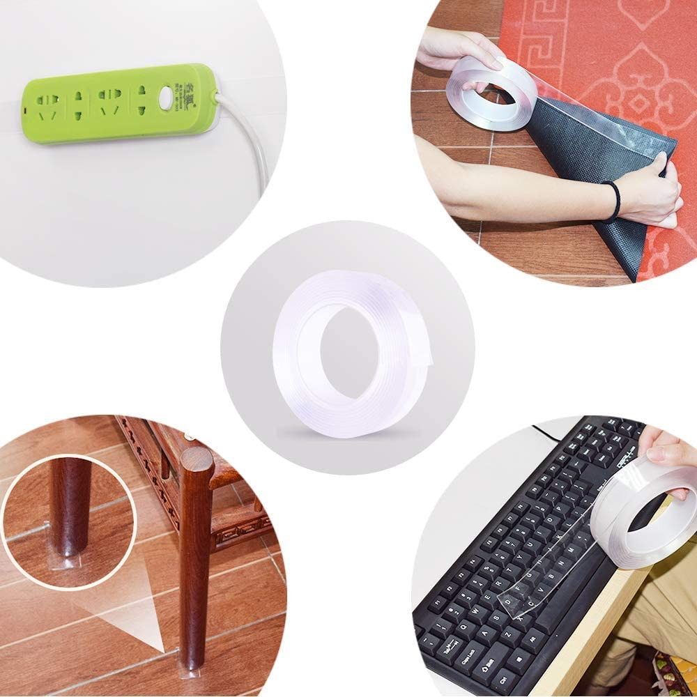 Boloniprod 2 Pcs 16.5 FT Reusable Traceless Tape Style 2 fix Carpet mats Multifunction Nano Movable Washable Tape Transparent Double-Sided Gel mat Adhesive Tape for Paste Photos and Posters