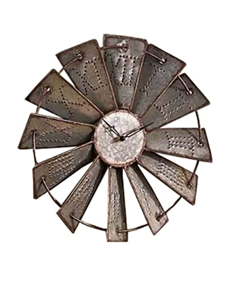 Traditional Country Farmhouse Rustic Metal WINDMILL WALL CLOCK