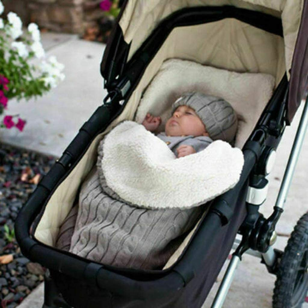 Nap Blanket Wrap Footmuff Car Seat Carriage Sack Boy Girl Winter Cold Weather Outdoor FlurriesBaby Stroller Sleeping Bag Swaddle 0-12 Months Infant Newborn Cover Mat Knit Fleece Lined
