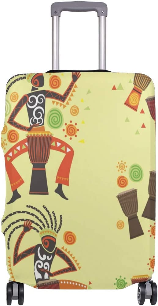 Cute 3D Exotic Woman Playing Djembe Pattern Luggage Protector Travel Luggage Cover Trolley Case Protective Cover Fits 18-32 Inch
