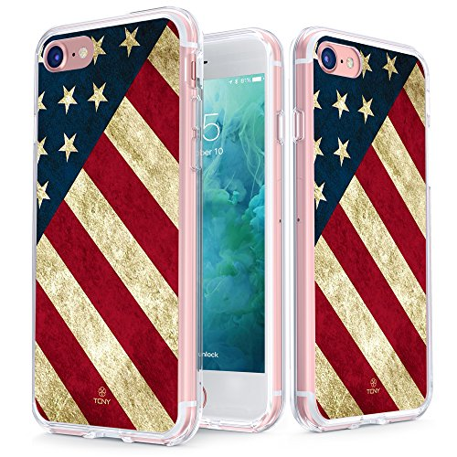 (True Color Case Compatible with iPhone 7 American Flag Case - Clear-Shield Vintage American Flag Printed - Soft and Hard Thin Shock Absorbing Protective Bumper Cover)