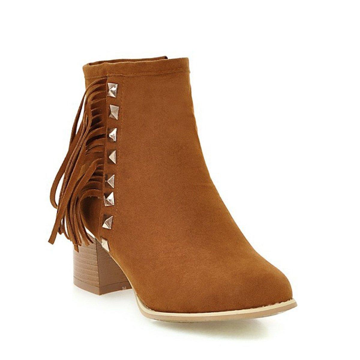 WJNKK Mesdames Chunky Chunky Chunky Block Heel Zipper Bottines Chaussures CasualB076FSHKWNParent 9854fd