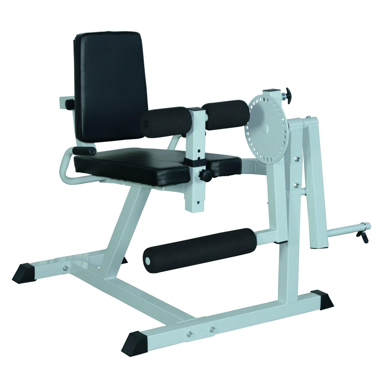 Soozier Adjustable Leg Curl Machine - White/Black