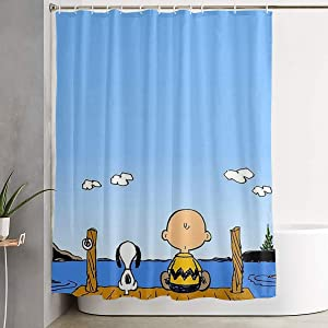 MOANDJI Funny Fabric Shower Curtain Snoopy and Charlie Brown Waterproof Bathroom Decor with Hooks 60 X 72 Inch