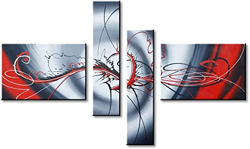 Handmade Black and Red Abstract Artwork Modern Oil Paintng Wall Art Canvas Picture