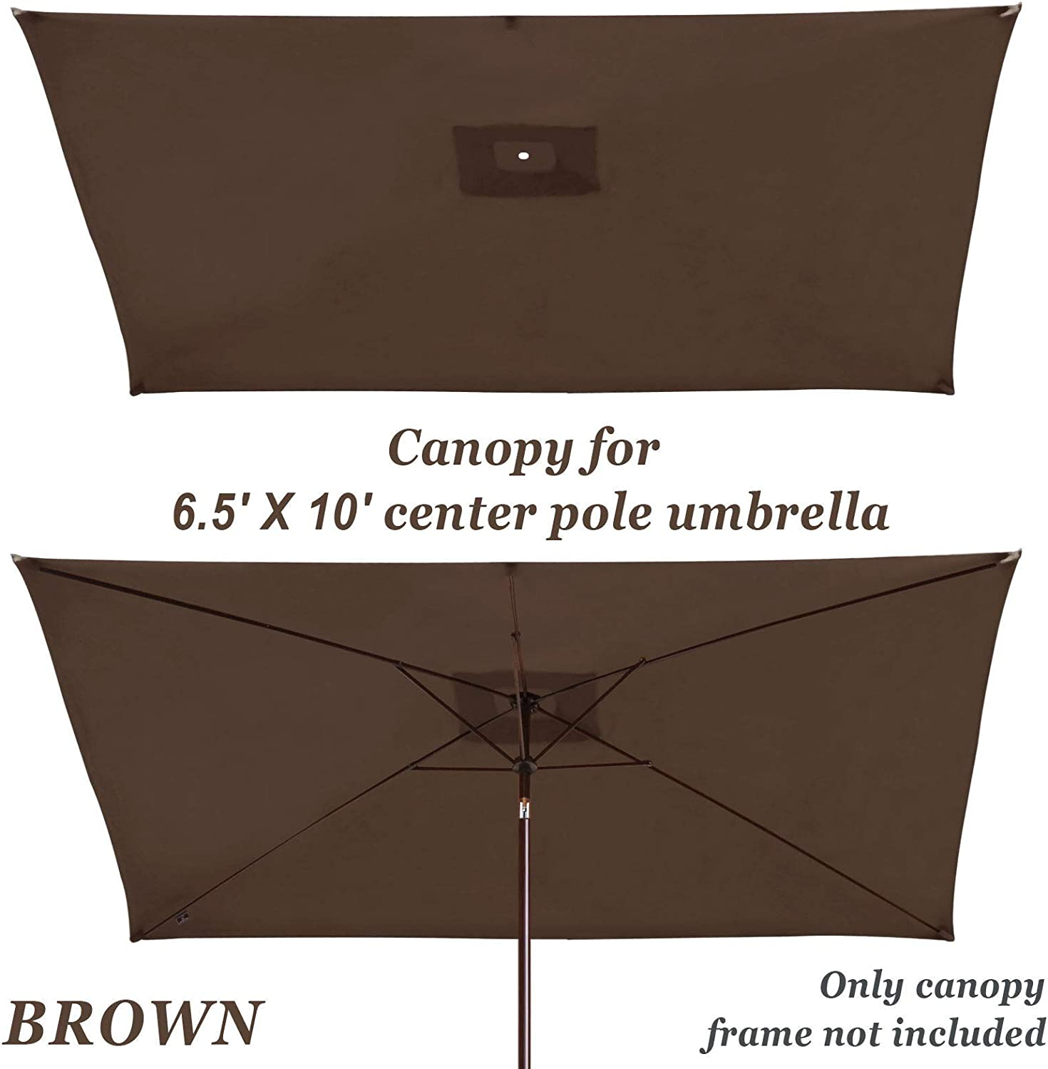 BenefitUSA 10x6.5 Outdoor Patio Umbrella Replacement Canopy 6-Rib Parasol Top Cover Beige
