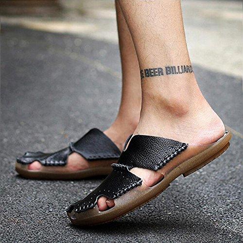Open Baotou in scarpe GAOLIXIA Black nuove scarpe casual pelle uomo per in all'aperto sandali coreano spiaggia Toe pelle da Estate traspirante antiscivolo HvHTqZw