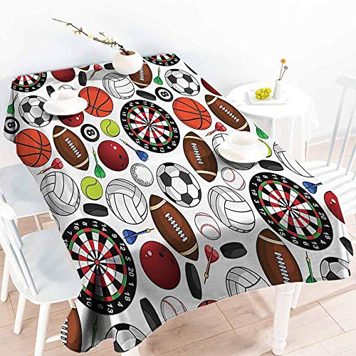 Rectangular Tablecloth Sports Decor Collection Pattern with Billiards Balls Hockey Pucks Darts Arrows and Target Boards Image Orange White Burgundy Washable Tablecloth W52 xL70