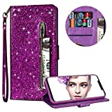 Luxury Glitter Bling Zipper Wallet Phone Case for Huawei Mate 20 Lite, MOIKY Bookstyle PU Leather Flip Folio Magnetic Purse Pockets Credit Card Holder Wrist Strap Case Cover for Huawei Mate 20 Lite - Purple