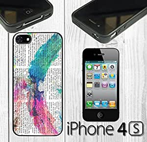Abstract Watercolor Eagle Newspaper Custom made Case/Cover/skin FOR iPhone 4/4s - Black - Rubber Case ( Ship From CA) by runtopwell