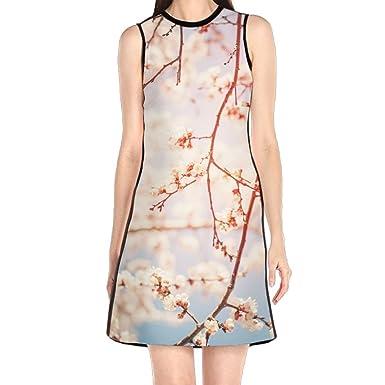 101fc69f8685 Cruelen Beautiful White Cherry Blossoms On Blue Sky in Spring Sunny Sky  Women's Fashion Sleeveless Mini