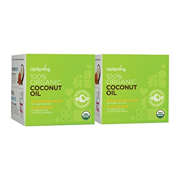 UpSpring 100% Pure Virgin Organic Coconut Oil for Skin Hair and Nails - (2  Count)