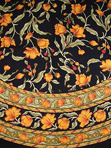 India Arts French Floral Round Cotton Tablecloth 70