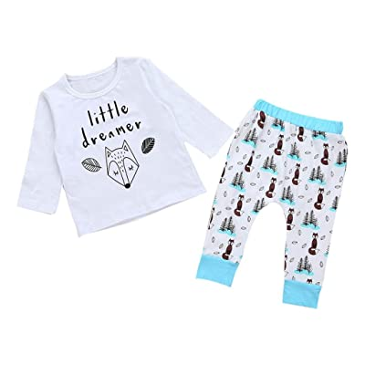 AMA(TM) Toddler Baby Boy Girls Print Long Sleeve Tops+Pants Outfits Clothes Set
