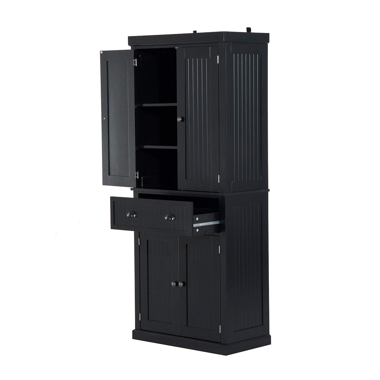 """Festnight Tall Kitchen Pantry Storage Cabinet, Traditional Standing Kitchen Pantry Cupboard Cabinet Black 72"""" by Festnight (Image #6)"""