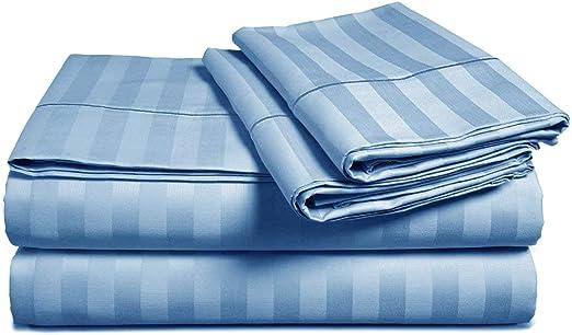 4-Piece Bed Sheet Set 100/% Cotton Striped//Plaids with Deep Pocket Queen Blue