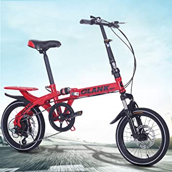 LETFF Bicicleta Plegable para Adultos Bicicleta de Amortiguador de Choque de 16 Pulgadas Mini Estudiante(