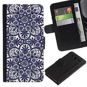 LASTONE PHONE CASE / Lujo Billetera de Cuero Caso del tirón Titular de la tarjeta Flip Carcasa Funda para Samsung Galaxy S3 III I9300 / Cards Flower Blue White
