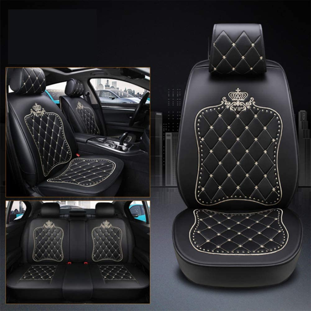 Ur HQCC Auto-sitzbez/üge PU-Leder Autositzbezug-Schutzkissen mit 360 /° Vollumrandung Universal-Sitzschutz f/ür Limousinen-SUV,D,Cartoon